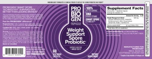 Probiogen® Gluten-Free Weight Support Spore Probiotic Vegetarian Capsules Perspective: back