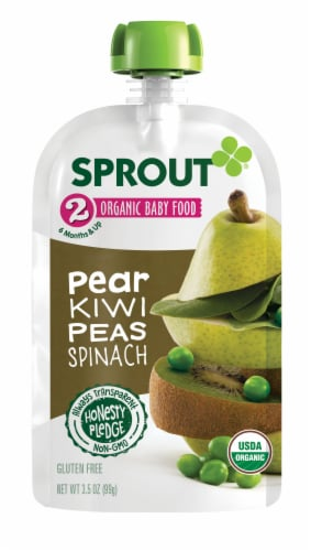 Sprout Pear Kiwi Peas Spinach Stage 2 Organic Baby Food 6 Count Perspective: back