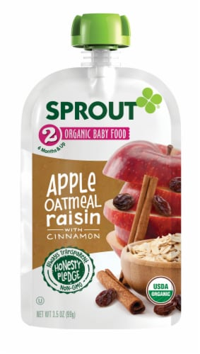 Sprout Organic Apple Oatmeal Raisin with Cinnamon Stage 2 Baby Food Perspective: back