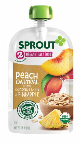 Sprout Peach Oatmeal Coconut Milk Pineapple Inner Stage 2 Baby Food 6 Count Perspective: back