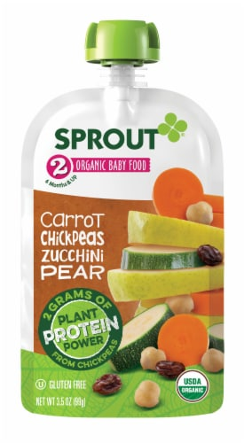 Sprout Organic Carrot Chickpeas Zucchini Pear Stage 2 Baby Food Perspective: back