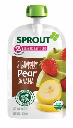 Sprout Organic Strawberry Pear & Banana Stage 2 Baby Food Perspective: back