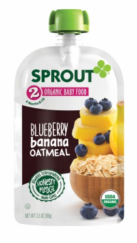 Sprout Organic Stage 2 Blueberry Banana Oatmeal Baby Food Perspective: back