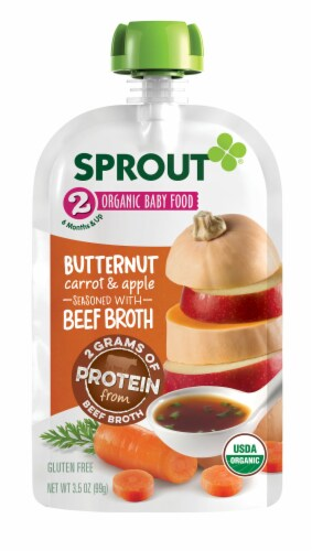 Sprout Organic Butternut Carrot & Apple Seasoned with Beef Broth Stage 2 Baby Food Perspective: back