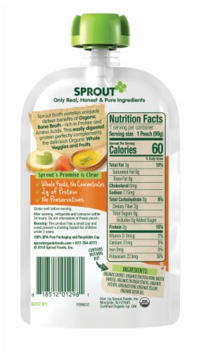 Sprout Homestyle Vegetables & Pear Seasoned with Chicken Broth Stage 2 Baby Food 6 Count Perspective: back