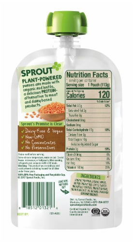Sprout Organic Pumpkin Red Apple Lentil & Cinnamon Stage 3 Baby Food Perspective: back