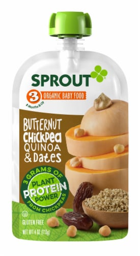 Sprout Butternut Chickpea Quinoa Date Stage 3 Baby Food 6 Count Perspective: back