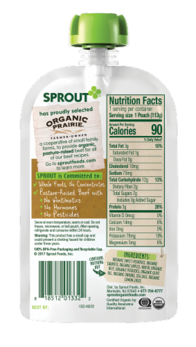 Sprout Organic Root Vegetables & Apple with Beef Stage 3 Baby Food Perspective: back