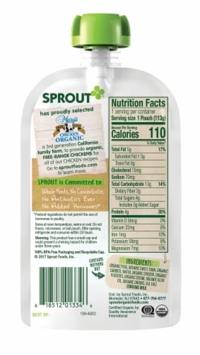 Sprout Organic Creamy Vegetables with Chicken Stage 3 Baby Food Perspective: back