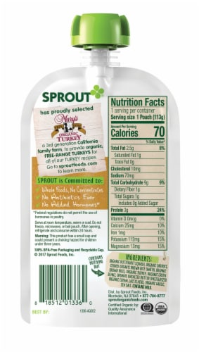 Sprout Organic Garden Vegetables Brown Rice Turkey Stage 3 Baby Food Perspective: back