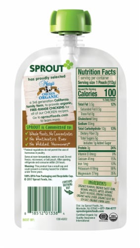 Sprout Organic Harvest Vegetables & Apricots with Chicken Stage 3 Baby Food Pouch Perspective: back