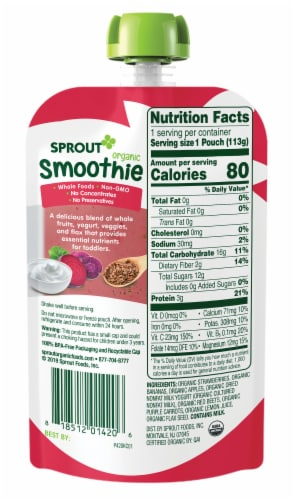 Sprout Organic Strawberry Banana Smoothie Toddler Food Perspective: back