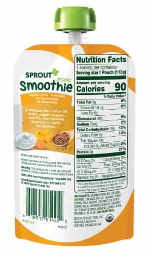 Sprout Organic Smoothie Peach Banana with Yogurt Veggies & Flax Seed Baby Food Perspective: back