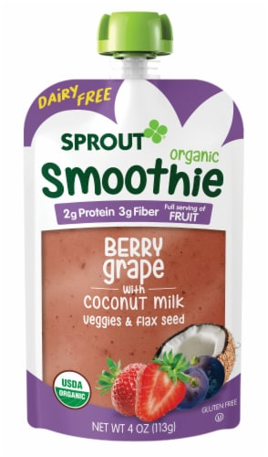 Sprout Organic Smoothie Berry Grape with Coconut Milk Veggies & Flax Seed Baby Food Perspective: back