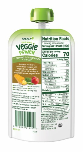 Sprout Organic Veggie Power Green Veggies with Pineapple & Apple Baby Food Perspective: back