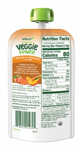 Sprout Organic Veggie Power Sweet Potato with Mango, Apricot & Carrot Baby Food Perspective: back