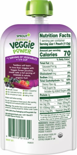 Sprout Organic Veggie Power Purple Carrot with Strawberry, Grape & Sweet Potato Baby Food Perspective: back