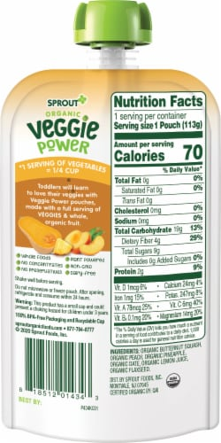 Sprout Organic Veggie Power Butternut Squash with Peach & Pineapple Baby Food Perspective: back