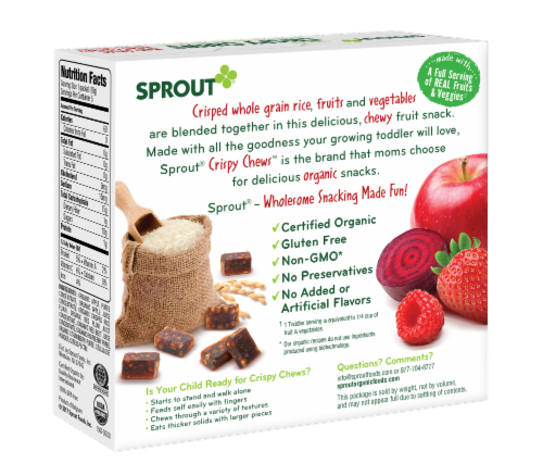 Sprout Red Fruit Beet & Berry with Crispy Brown Rice Organic Toddler Crispy Chews Perspective: back