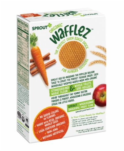 Sprout Organic Wafflez Apple Carrot Cinnamon Baby Food 5 Count Perspective: back