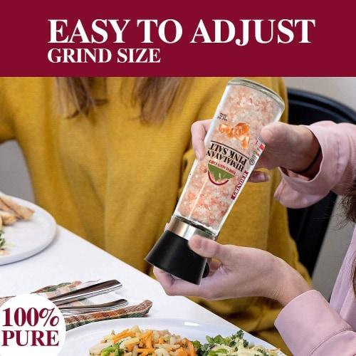 Himalayan Chef Pink Salt, Natural & Nutritious Coarse Salt, Refillable Glass Grinder – 13 Oz Perspective: back