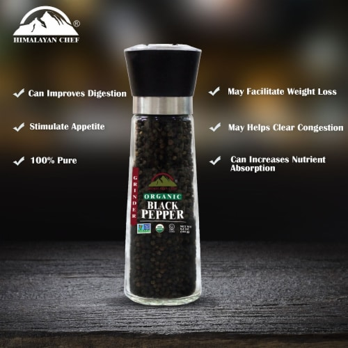 Himalayan Chef Organic Black Pepper, Hand Picked, Sun Dried, Refillable Glass Grinder, 6.4 Oz Perspective: back