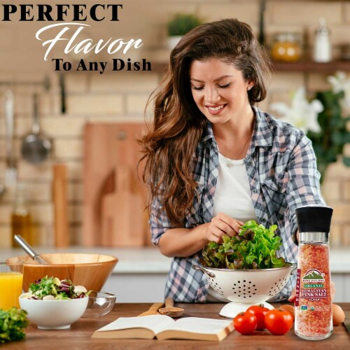 Himalayan Chef Organic Onion & Crushed Red Pepper With Pink Salt, Glass Grinder – 12.5 Oz Perspective: back