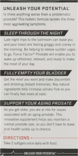 Force Factor Prostate Supplement Softgels Perspective: back