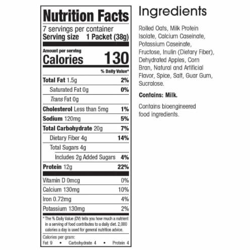 WonderSlim Protein Oatmeal, Apple & Cinnamon (7ct) Perspective: back