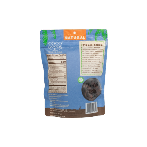 Natural Coconut Chips Chocolate 3.5 oz, Zip lock Bag Perspective: back