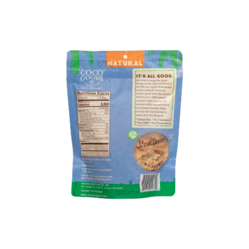 Natural Coconut Chips Scallions 3.5 oz, Zip lock Bag Perspective: back