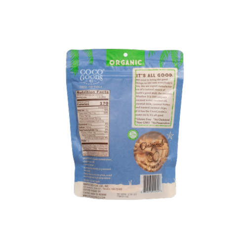 Organic Coconut Chips Original 3.5 oz, Zip lock Bag Perspective: back