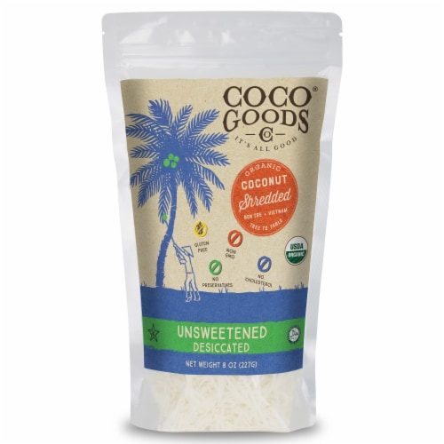 Organic Unsweetened Desiccated Coconut, SHREDDED Grade, 8 oz per Bag Perspective: back