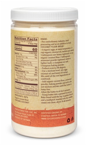 Organic Coconut Flour 18 oz  PET Jar Perspective: back