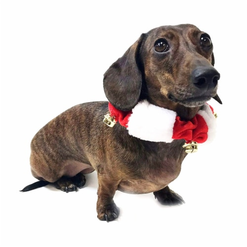 Midlee White/Red Christmas Plush Bell Collar (Small) Perspective: back