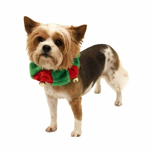 Midlee Red/Green Christmas Plush Bell Collar (Small) Perspective: back