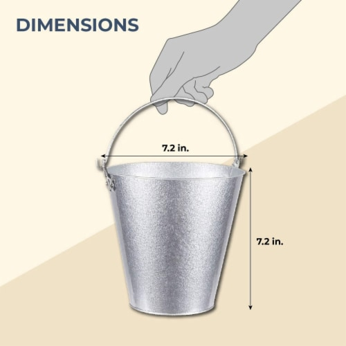Juvale 3-Pack Galvanized Metal Ice Bucket Pails for Drinks, and Party Decorations, 7 Inches Perspective: back