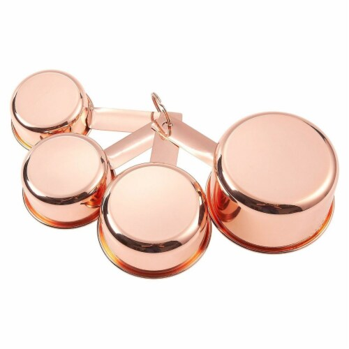 4-Piece Set of Stainless Steel Copper-Plated Measuring Cup Set for Baking, Cooking Perspective: back
