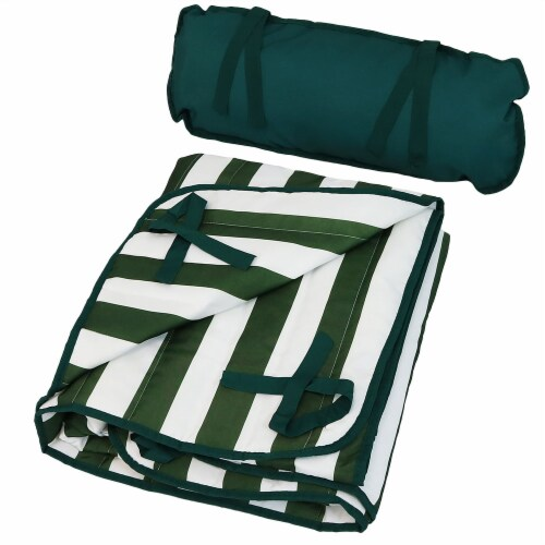Sunnydaze Polyester Quilted Hammock Pad and Pillow Only Set - Green-White Stripe Perspective: back
