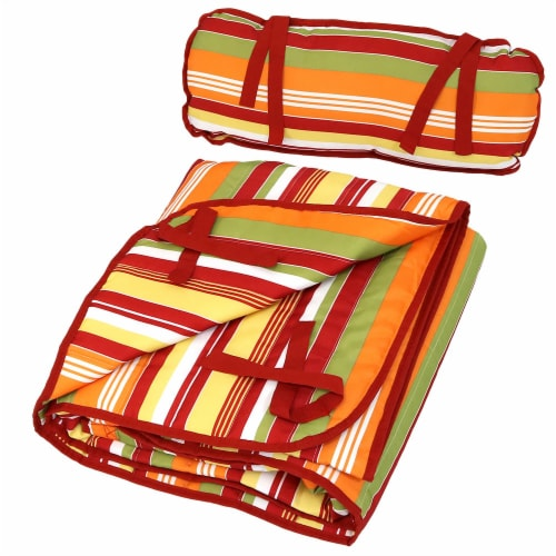 Sunnydaze Outdoor Polyester Quilted Hammock Pad/Pillow Only Set-Tropical Orange Perspective: back
