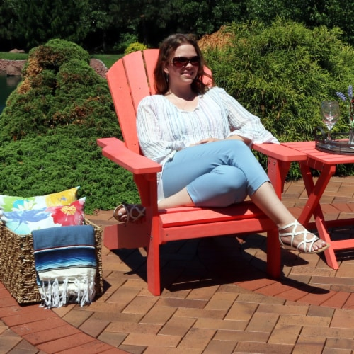Sunnydaze All-Weather Outdoor Patio Adirondack Chair w/ Faux Wood Design -Salmon Perspective: back