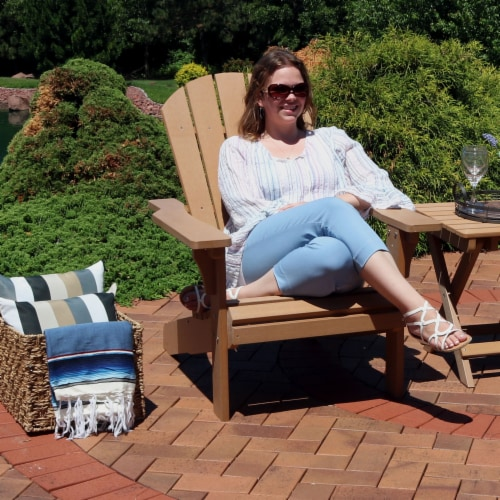 Sunnydaze All-Weather Patio Adirondack Chair with Faux Wood Design - Brown Perspective: back