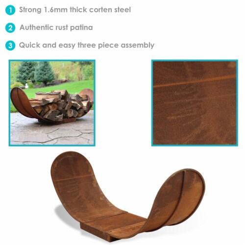 Sunnydaze Log Rack 4' Steel with Oxidized Rustic Finish Firewood Storage Perspective: back