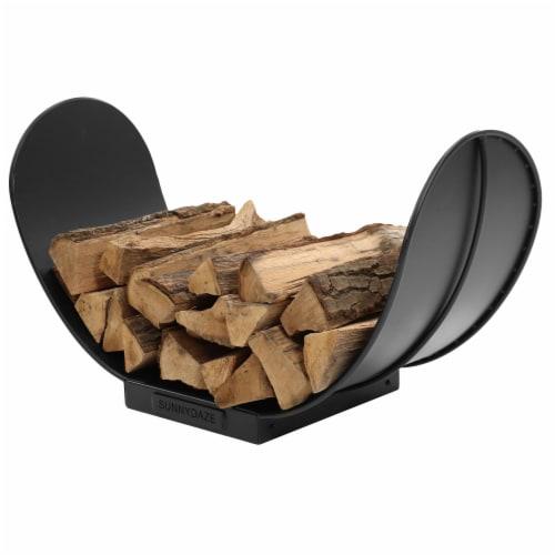 Sunnydaze Log Rack 3' Curved Black Steel Outdoor Firewood Storage Holder Perspective: back
