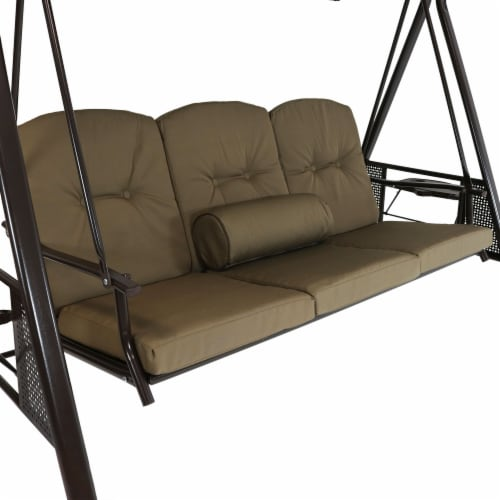 Sunnydaze 3-Person Adjustable-Tilt Canopy Patio Swing with Pillows and Cushions Perspective: back