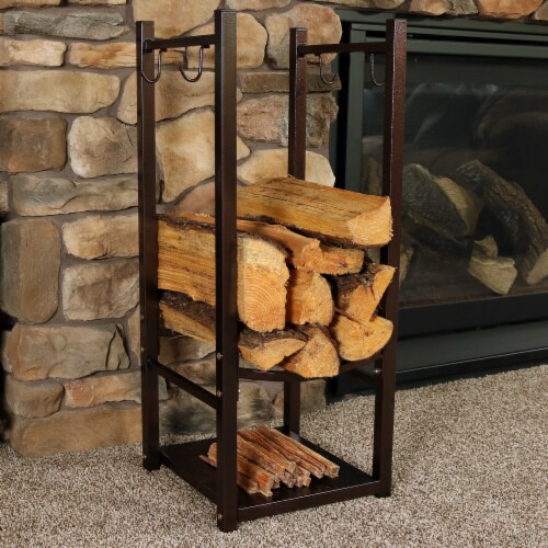Sunnydaze Log Rack with Tool Holders Steel with Bronze Finish Firewood Storage Perspective: back