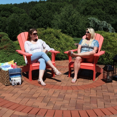 Sunnydaze All-Weather Outdoor Adirondack Chair - 2 PK - Faux Wood Design -Salmon Perspective: back