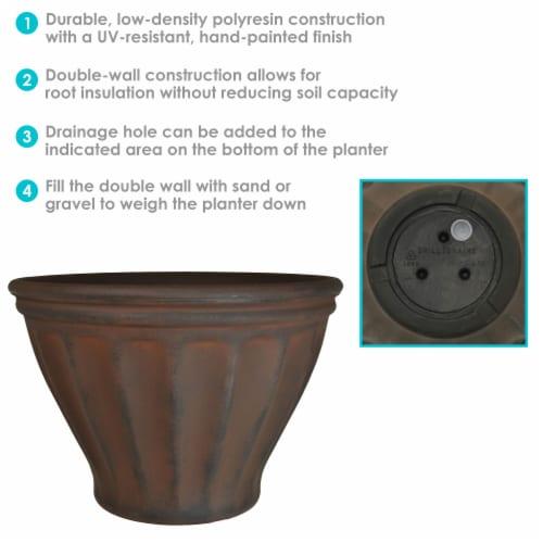 "Sunnydaze Charlotte Outdoor Double-Walled Flower Pot Planter - Rust -16""- Single Perspective: back"
