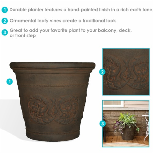 "Sunnydaze Arabella Outdoor Double-Walled Flower Pot Planter  - Sable -20""-Single Perspective: back"