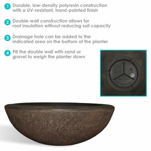 "Sunnydaze Percival Outdoor Double-Walled Flower Pot Planter - Sable -21""- Single Perspective: back"